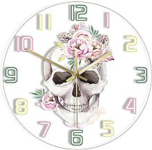 Wall Clock Human Watercolor Skull With Floral