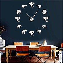 Wall clock Jungle Animals Elephant DIY Large Wall