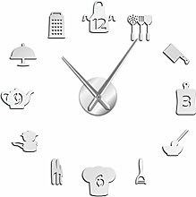 Wall Clock Kitchen Cooking Tools DIY Giant Wall
