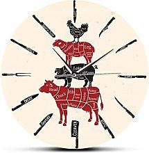 Wall Clock Kitchen Knives Butcher Shop Wall Clock
