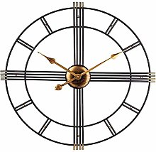 Wall Clock Large Vintage Art Clock, Indoor Silent