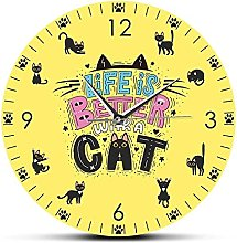 Wall Clock Life Is Better With A Cat Funny Quote