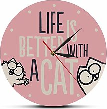 Wall Clock Life Is Better With A Cat Pink