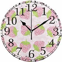 Wall Clock Light Pink Strawberry Cartoon Fruit