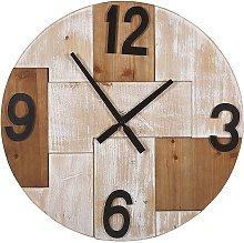 Wall Clock Light Wood Round ø 60 cm Black Hands