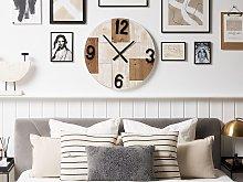 Wall Clock Light Wood Round ø 60 cm Handmade Face