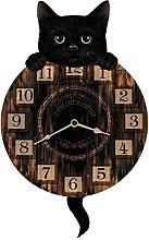 WALL CLOCK LUCKY CAT PENDULUM KITCHEN CLOCK NEW