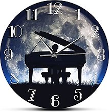 Wall Clock Man Playing Piano With Moon Decorative