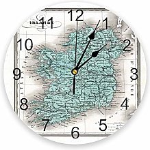 Wall clock Map Ireland Vintage Style Dublin Atlas