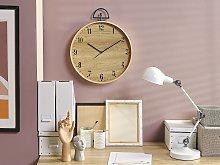 Wall Clock MDF Light Wood Vintage Design Wood