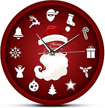 Wall Clock Merry Christmas Santa Claus Home Decor