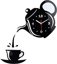 Wall Clock Mirror Effect Coffee Cup Shape