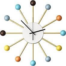Wall Clock Modern Design Nordic Wooden Balls Metal