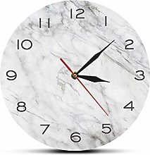 Wall Clock Modern Design White Grey Marble Texture