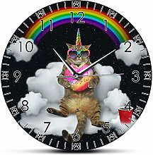 Wall Clock Modern Funny Meowgical Unicorn Cat With