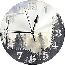 Wall Clock Mountain Mist Decorative Round Clock