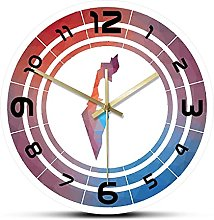 Wall Clock Multicolored Israel Rounded Sign With
