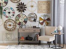 Wall Clock Multicolour Distressed Iron Vintage