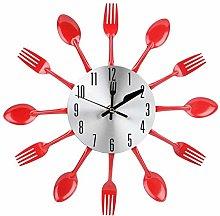 Wall Clock, Noiseless Stainless Steel Cutlery