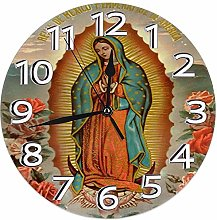 Wall Clock Our Lady of Guadalupe Virgin Mary Round