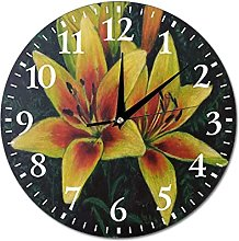 Wall Clock Painting With Flowers Yellow Lilies