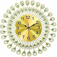 Wall Clock Peacock Diamond Iron Art Living Room