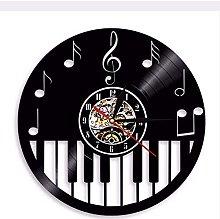 Wall clock piano instrument vinyl record wall
