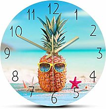 Wall Clock Pineapple With Sunglass On Seahore