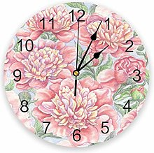 Wall Clock Pink Peony Flower Watercolor Painting
