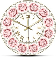 Wall Clock Pink Rose Vintage Wall Clock Silent Non