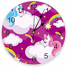 Wall Clock Pink Unicorn Rainbow Stars Clouds Wall