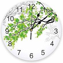 Wall Clock Plant Branch Green Leaves Wall Clock