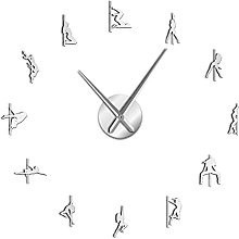 Wall Clock Pole Dance Frameless 3D Diy Modern Wall