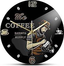 Wall Clock Professional Barista Coffee Beans