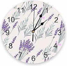 Wall Clock Purple Lavender Flowers Leaves Wall