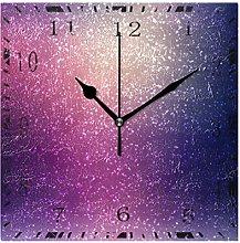 Wall Clock Purple Starry Sky Glitters Square