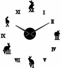 Wall Clock Rabbit With Roman Numerals Diy Wall