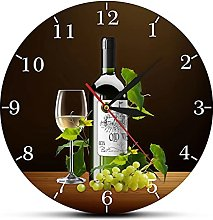 Wall Clock Red And White Wine Winery Drunkery Sign