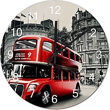 Wall Clock Red Bus on The Streets of London, UK