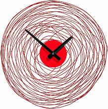 Wall Clock Red Swirl Metal Frame Clocks For Living