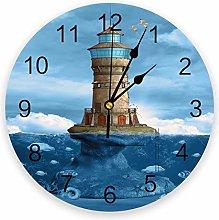 Wall clock Sea Blue Lighthouse Coral Fish PVC Wall