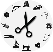 Wall Clock Sewing Tools Tailor Wall Clock For