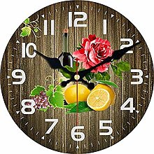Wall Clock Shabby Chic Flower And Fruit Wine Wall