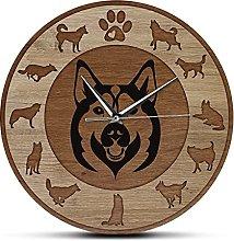 Wall Clock Siberian Husky Dog Wood Texture Acrylic