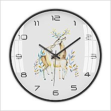 Wall Clock Silent Clock Chinese Style Deer Pattern