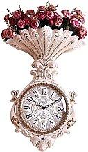 Wall Clock Silent Clocks Rose Flower Vase Big Wall
