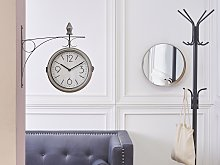 Wall Clock Silver and White Iron Vintage Design