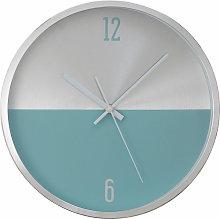 Wall Clock Silver / Blue Finish Frame Clocks For