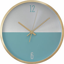 Wall Clock Silver / Blue Finish Gold Frame Clocks