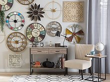 Wall Clock Silver Distressed Iron Frame Industrial